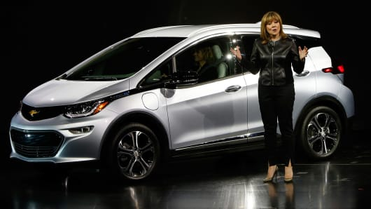 Mary Barra, chief executive officer of General Motors Co. (GM), unveils the Chevrolet Bolt electric vehicle (EV) during the 2016 Consumer Electronics Show (CES) in Las Vegas, Nevada.