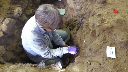 The undated photo provided by the Max Planck Institute for Evolutionary Anthropology shows Becky Miller sampling sediment for genetic analyses at the archaeological site of Trou Al'Wesse, Belgium.