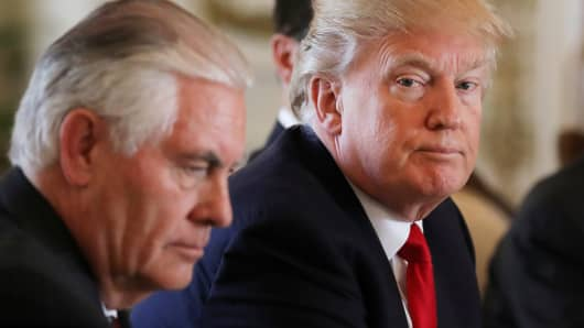 President Donald Trump sits next to Secretary of State Rex Tillerson during a bilateral meeting with China's President Xi Jinping (not pictured) at Trump's Mar-a-Lago estate in Palm Beach, Florida.