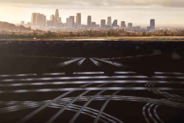 The Boring Company rendering of what a massive underground tunnel network would look like.