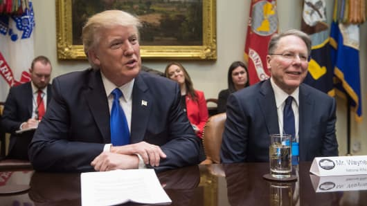 President Donald Trump speaks during a meeting with leaders of conservative groups, including Wayne LaPierre (R), executive vice president of the National Rifle Association (NRA).