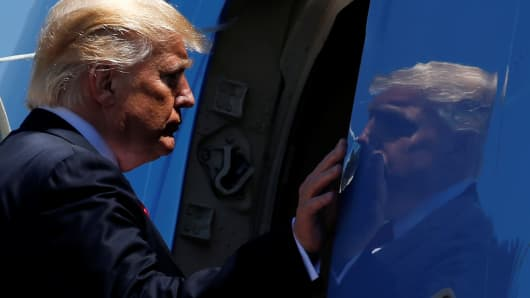 President Donald Trump boards Air Force One for travel to Atlanta from Joint Base Andrews, Maryland, U.S, April 28, 2017.