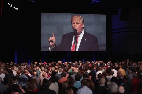 President Donald Trump speaks at the NRA-ILA's Leadership Forum on April 28, 2017 in Atlanta, Georgia.