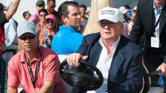 Donald Trump attends the final round at Trump National Doral Blue Monster Course.