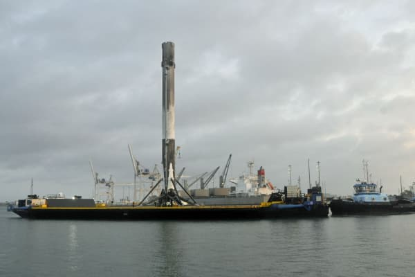 Space X's Falcon 9 first stage arrives in Port Canaveral, Florida, on April 4, 2017.