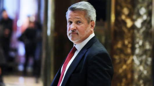 Fox News President Bill Shine departs after meeting with then-President-elect Donald Trump at Trump Tower in New York, November 21, 2016.