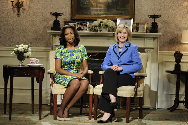 Sasheer Zamata as First Lady Michelle Obama on Saturday Night Live