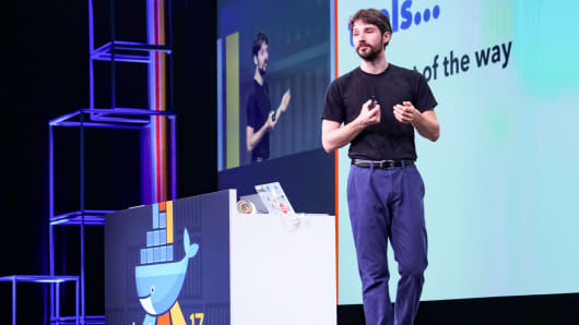 Docker founder Solomon Hykes at DockerCon.