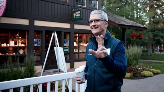 Tim Cook, chief executive officer of Apple, attends the annual Allen & Company Sun Valley Conference, July 6, 2016 in Sun Valley, Idaho.