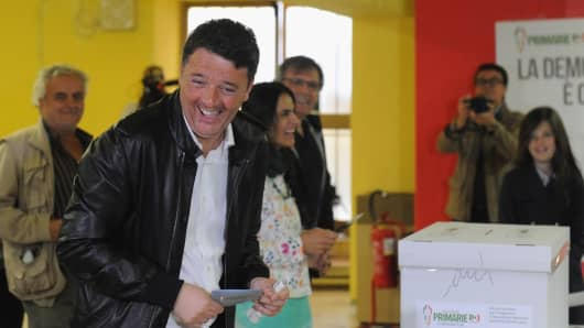 Former Italian Prime Minister and PD secretary Matteo Renzi casts his vote for Democratic Party leadership primaries on April 30, 2017 in Pontassieve, Italy.