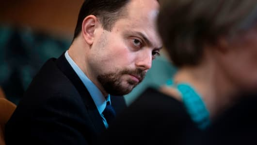 Russian activist Vladimir Kara-Murza listens to other participants during a hearing of the US Senate Appropriations Subcommittee on State, Foreign Operations and Related Programs on Capitol Hill March 29, 2017 in Washington, DC.