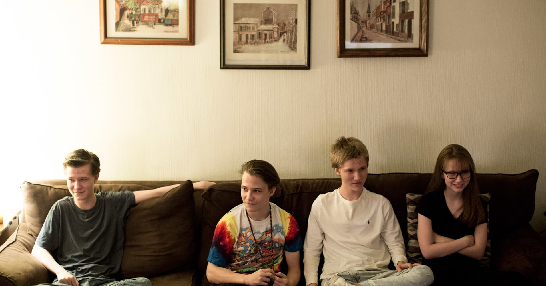 From left to right: Triplets Jake, Zachary, Lucas Smith, all 17 and high school seniors, and their sister, Tess, 15, at their home in Philadelphia, April 26, 2017. The children's mother, Mary Lou Smith, said all the colleges that accepted her boys wanted them to take out loans, even though a federal financial aid formula found that the family could afford to pay nothing at all.