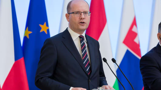 Czech Republic Prime Minister Bohuslav Sobotka during the Visegrad Group meeting in Warsaw, Poland on 28 March 2017.