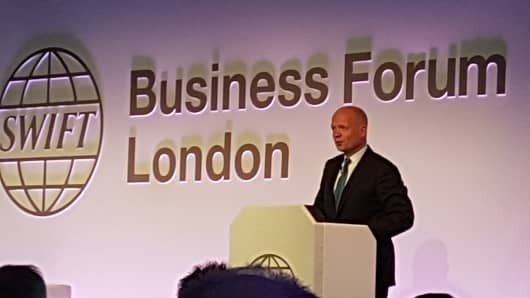 William Hague addresses the 2017 SWIFT Business Forum in London.