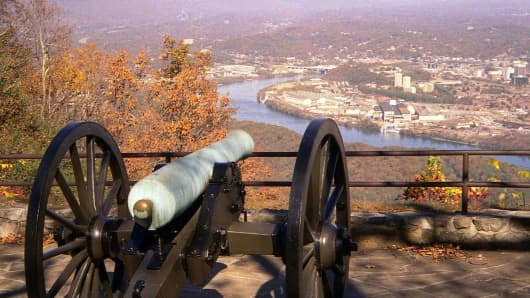 A 12-pounder Napoleon cannon, a standard weapon used by both sides in the Civil War, stands guard over downtown Chattanooga and the Tennessee River Valley from the top of Lookout Mountain, the most scenic part of the Chickamauga and Chattanooga National Military Park.