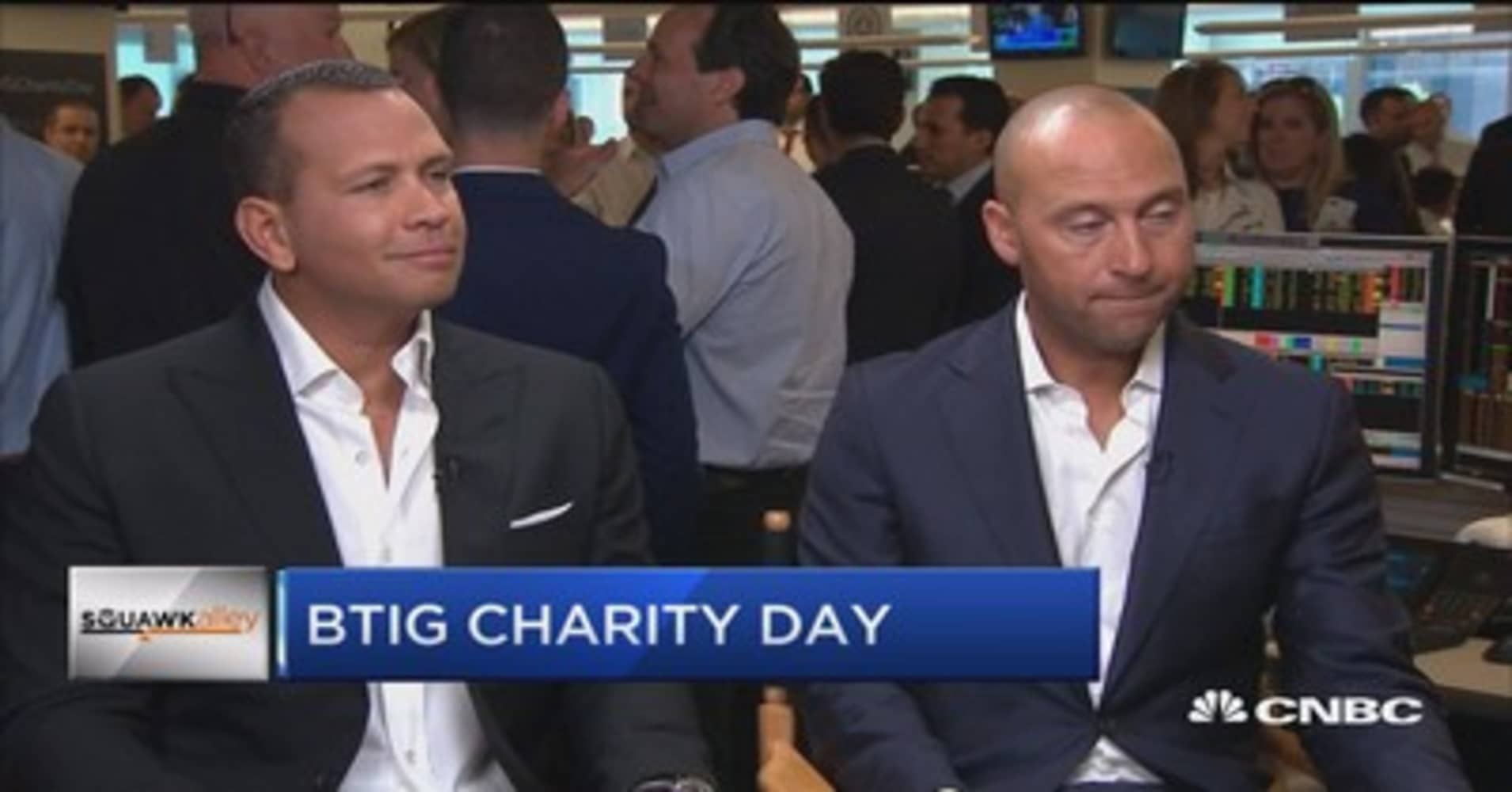 Jeter and A-Rod talk charity at BTIG
