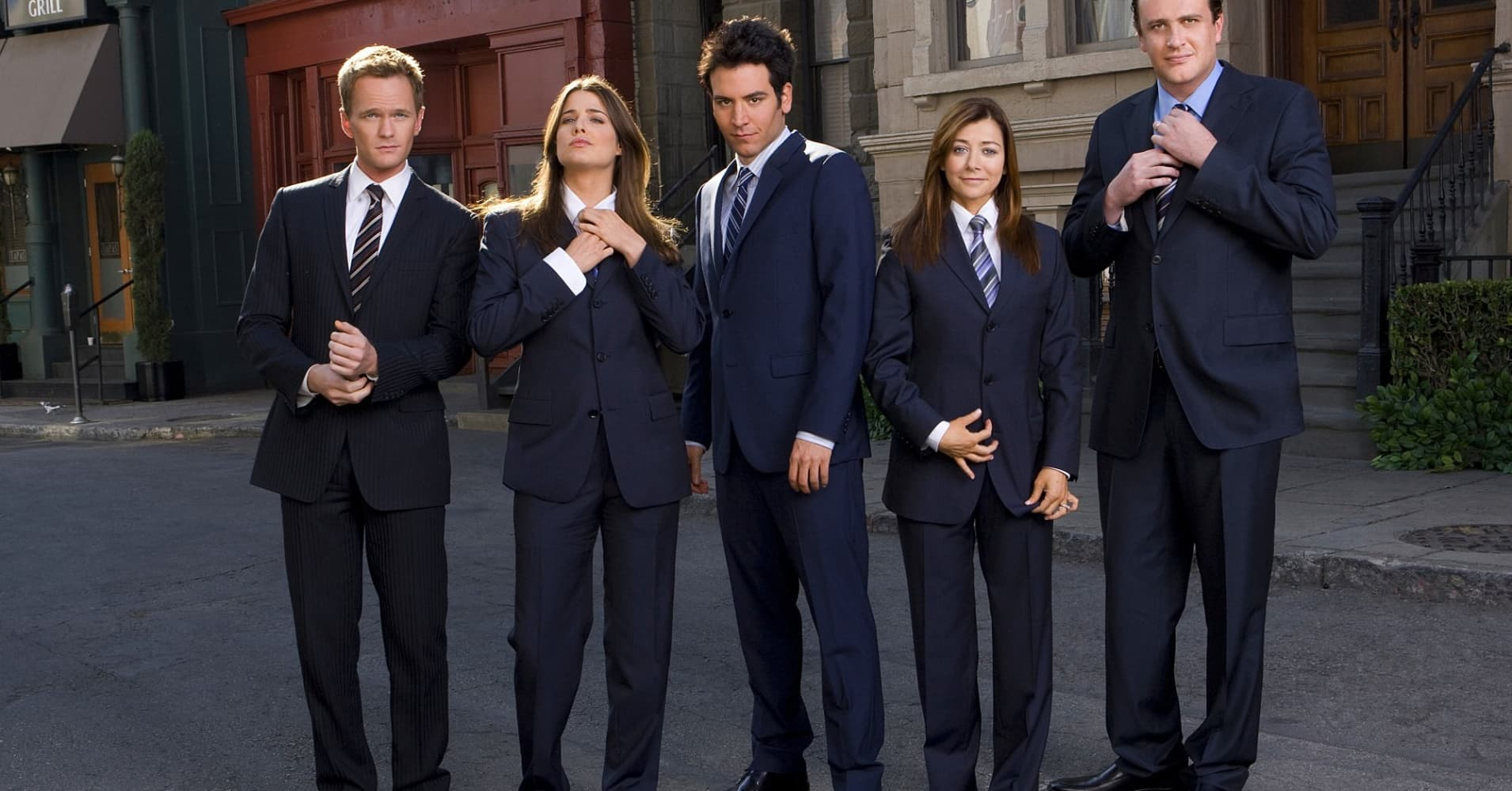 "The cast of ""How I Met Your Mother"" in the 100th episode."