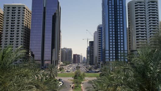 Buildings in Abu Dhabi along the Sultan bin Zayed the First Street, United Arab Emirates
