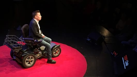 Jan Grue, a professor at the Department of Special Needs Education at University of Oslo, on stage at TEDxOslo in Norway.