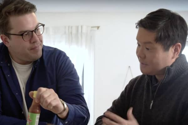 "Christian (left) and Dom Chu discuss Christian's financial situation in the first episode of CNBC Make It's digital series, ""Saved."""