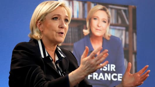 Marine Le Pen, French National Front (FN) candidate for 2017 presidential election, speaks during an interview with Reuters in Paris, France, May 2, 2017.
