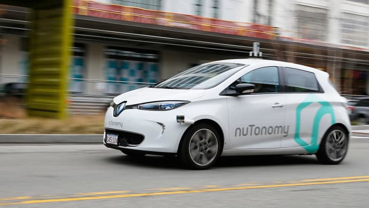 NuTonomy's driverless car, the first to launch in Boston, takes a spin around Drydock Ave. in South Boston on Jan. 4, 2017.