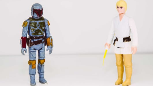 Star Wars action figures, Boba Fett and Luke Skywalker, part of Tom Long's collection at his home in Portland, ME.