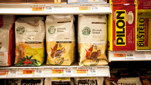 Starbucks coffee sits on a shelf at a grocery store in New York.