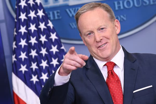 White House Press Secretary Sean Spicer speaks to the press in the Brady Briefing Room of the White House.