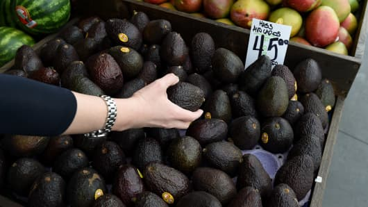Hass avocados for sale at the Farmers Market in Los Angeles, California.
