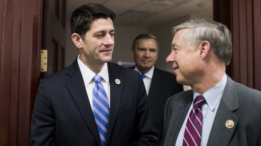 Rep. Paul Ryan, R-Wisc., left, and Rep. Fred Upton, R-Mich.