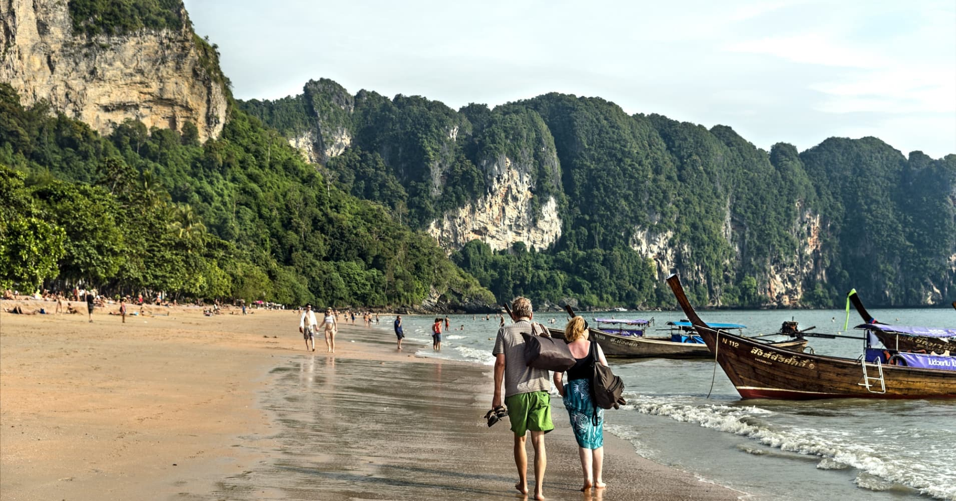 Tourists at Ao Nang Beach, Thailand.