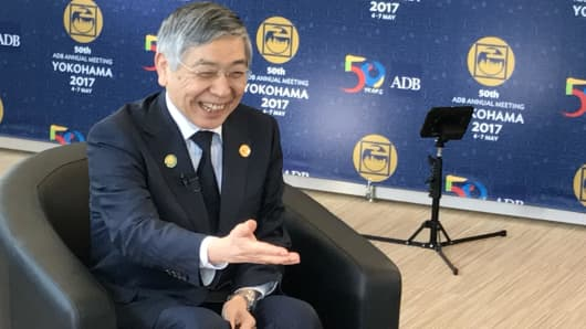 Bank of Japan Governor Haruhiko Kuroda speaks with CNBC at the 2017 Asian Development Bank meeting in Yokohama, Japan.