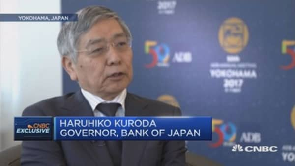 BOJ Governor says country on track to meet inflation target in 2018