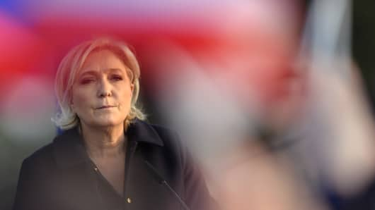 Far right Presidential candidate Marine Le Pen addresses voters.