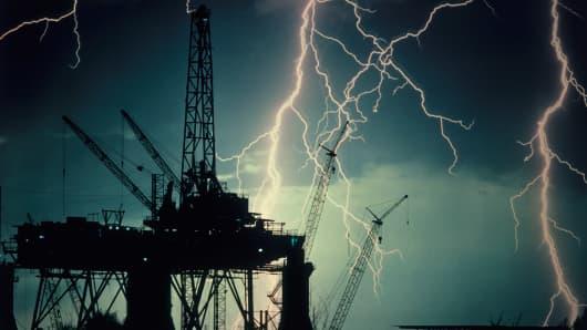 Lightning oil rig