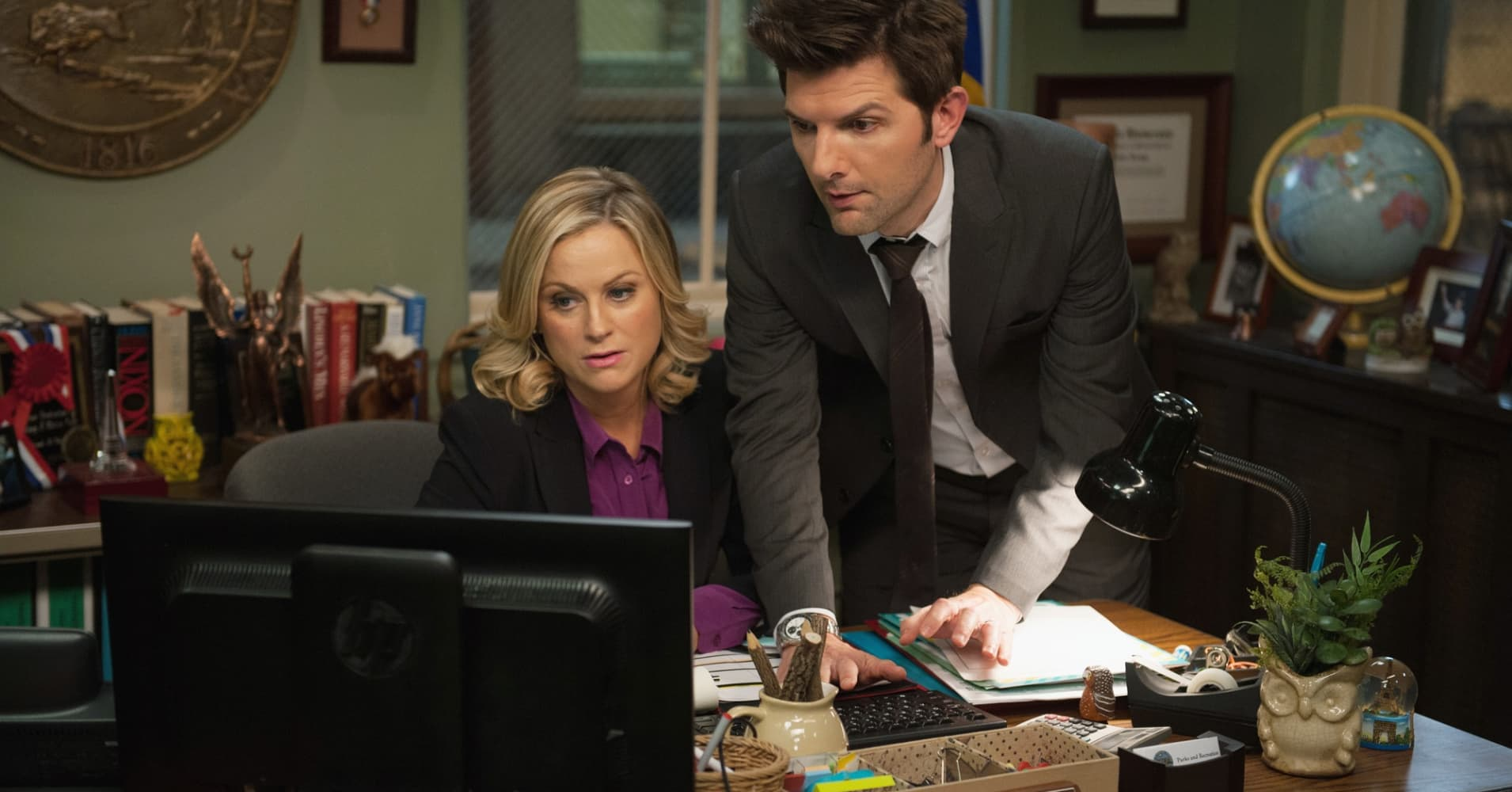Amy Poehler as Leslie Knope, Adam Scott as Ben Wyatt in NBC's 'Parks and Recreation.'