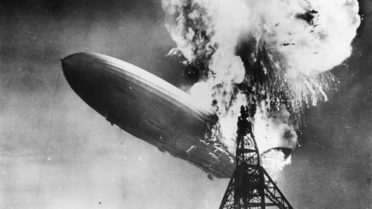The Hindenburg disaster at Lakehurst, N.J., which marked the end of the era of passenger-carrying airships.