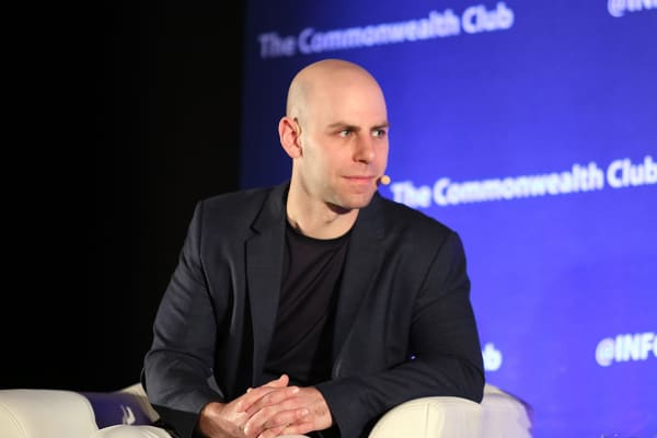 "Adam Grant speaks about ""Option B,"" his new book written with Sheryl Sandberg, at a Commonwealth Club event in San Francisco."