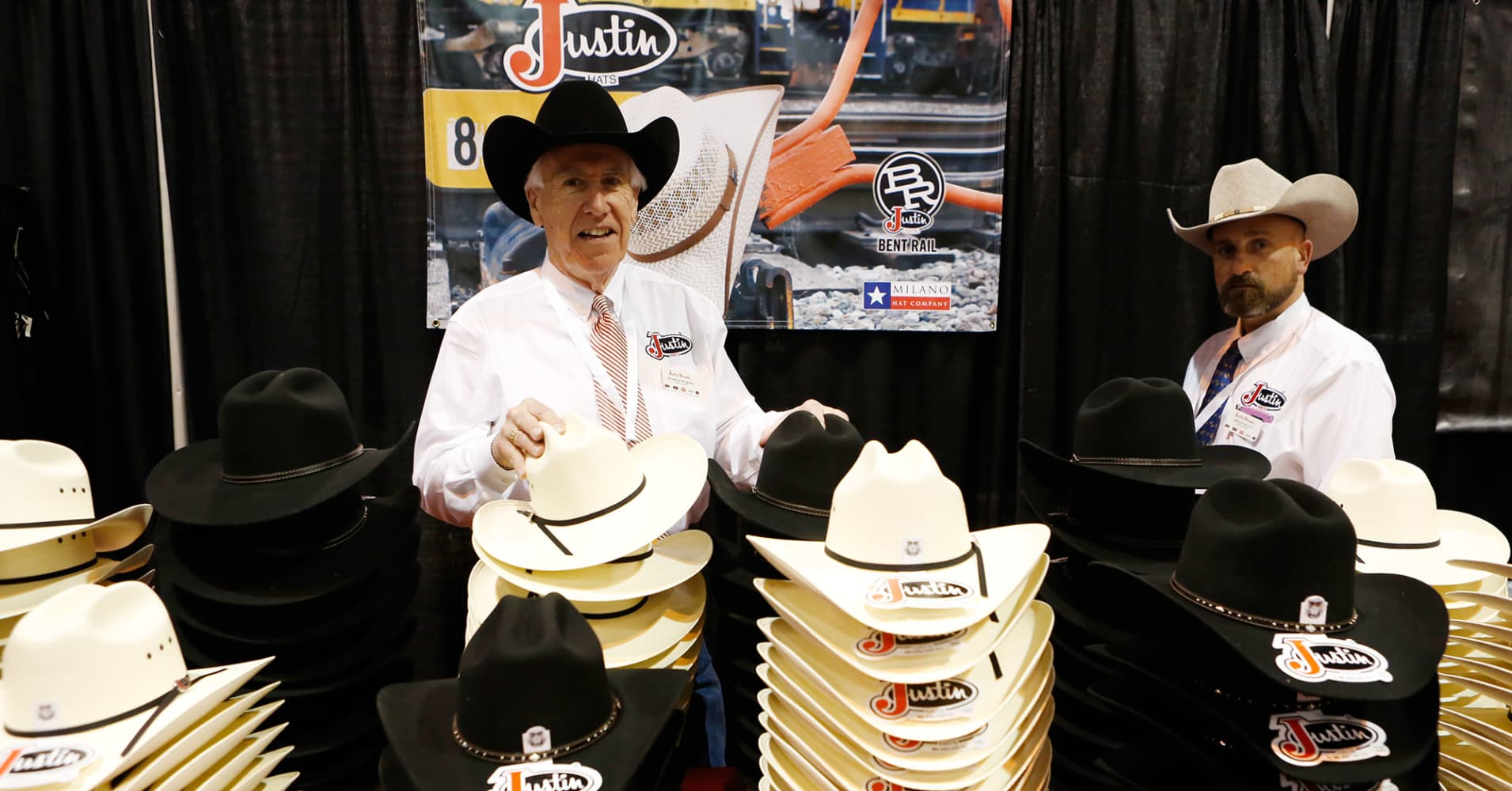 Justin hats on display at the 2017 Berkshire Hathaway Annual Meeting in Omaha, NE.