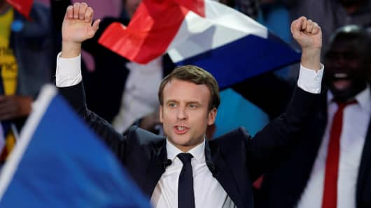 Emmanuel Macron, head of the political movement En Marche !, or Onwards !, and candidate for the 2017 presidential election, attends a campaign rally in Albi, France, May 4, 2017.