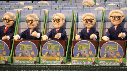 Warren Buffett Secret Millionaire's Club dolls on display at the Annual Berkshire Hathaway Shareholder's Meeting in Omaha, NE on May 6, 2017.