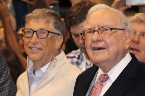 Bill Gates and Warren Buffett at the Annual Berkshire Hathaway Shareholder's Meeting in Omaha, NE on May 6, 2017.
