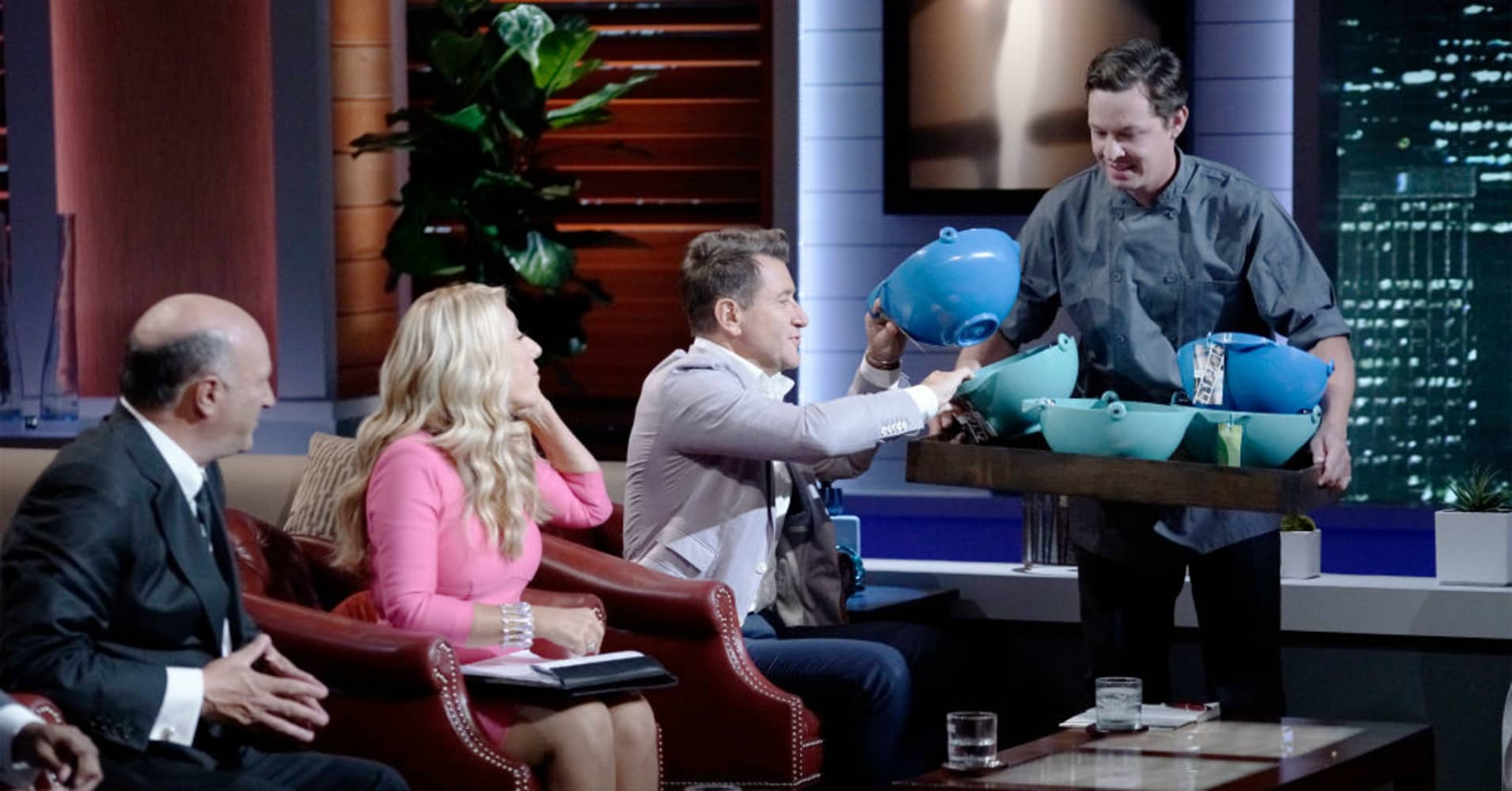 """Tyler Peoples pitches the scooping bowl on """"Shark Tank."""""""