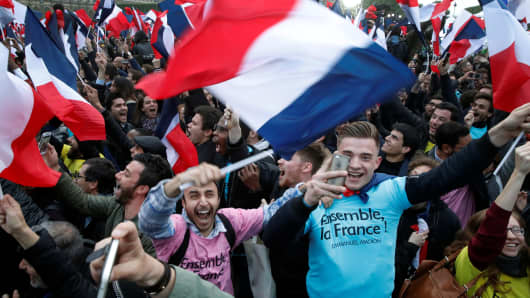 Supporters of President Elect Emmanuel Macron celebrate near the Louvre museum after results were announced in the second round vote of the 2017 French presidential elections, in Paris, France May 7, 2017.