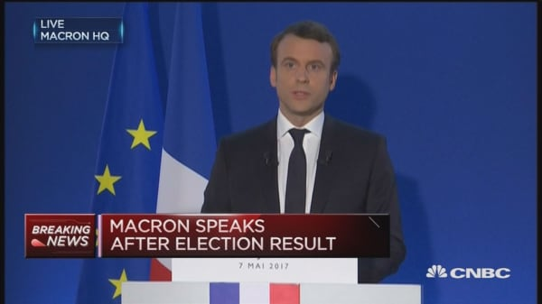 Emmanuel Macron speaks after exit polls indicate victory