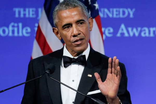 Former U.S. President Barack Obama speaks after receiving the 2017 Profile in Courage Award during a ceremony at the John F. Kennedy Library in Boston, Massachusetts, May 7, 2017.