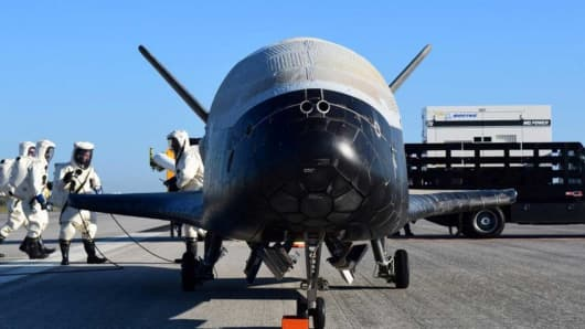 The U.S. Airforce's X-37B Orbital Test Vehicle mission 4 after landing at NASA's Kennedy Space Center Shuttle Landing Facility in Cape Canaveral, Florida, May 7, 2017.