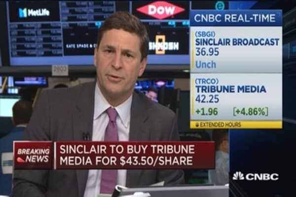 Sinclair to buy Tribune Media for $43.50 per share