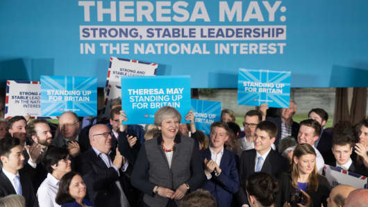 British Prime Minister Theresa May campaigning ahead of the 2017 General Election.